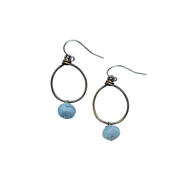 Blue Opal And Bronze Hoop Earrings
