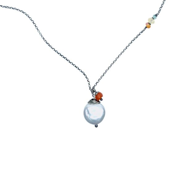 Coin Pearl And Fire Opal Sterling Silver Necklace Closeup