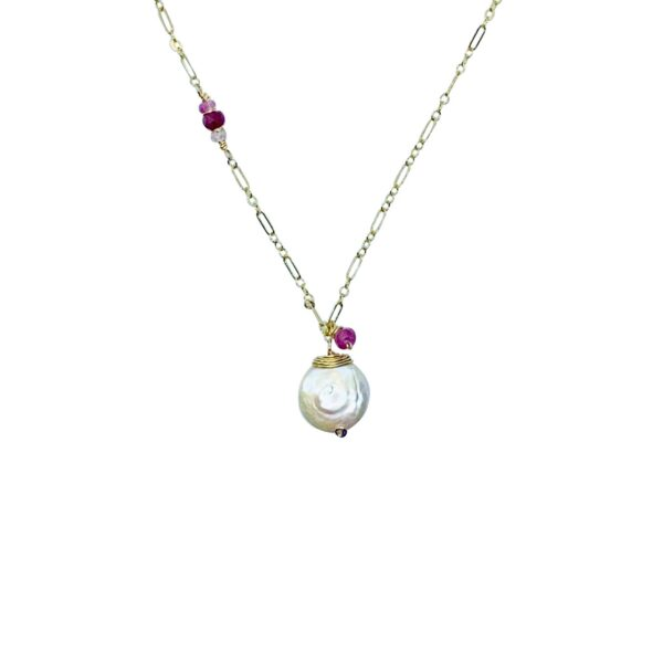 Coin Pearl And Gold Fill Necklace