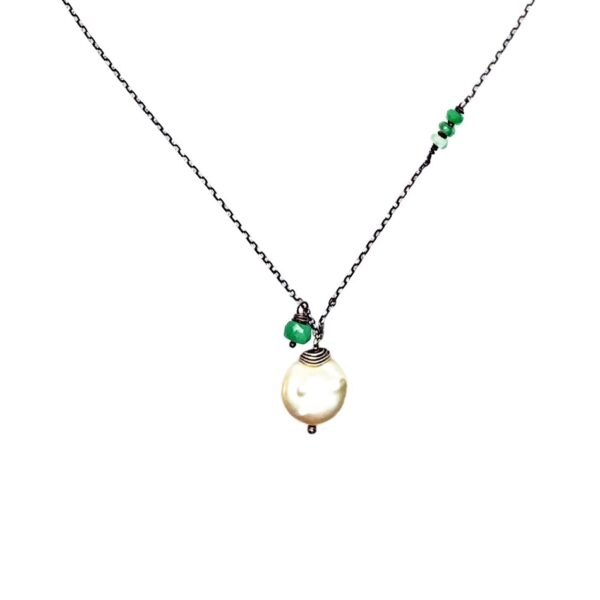 Coin Pearl, Green Sapphire And Sterling Silver Necklace Closeup