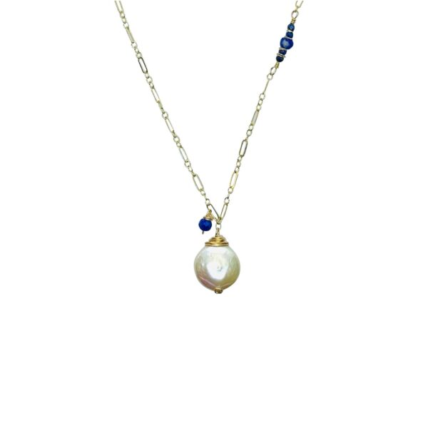 Coin Pearl, Lapis Lazuli And Gold Fill Necklace