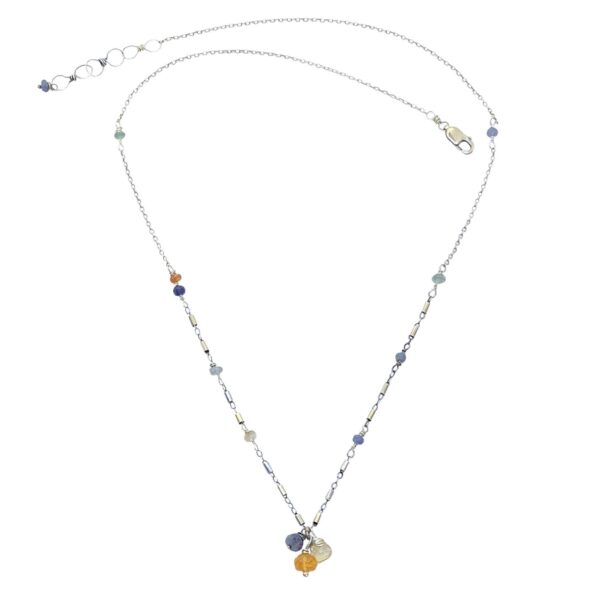 Opal Trio And Sterling Silver Necklace
