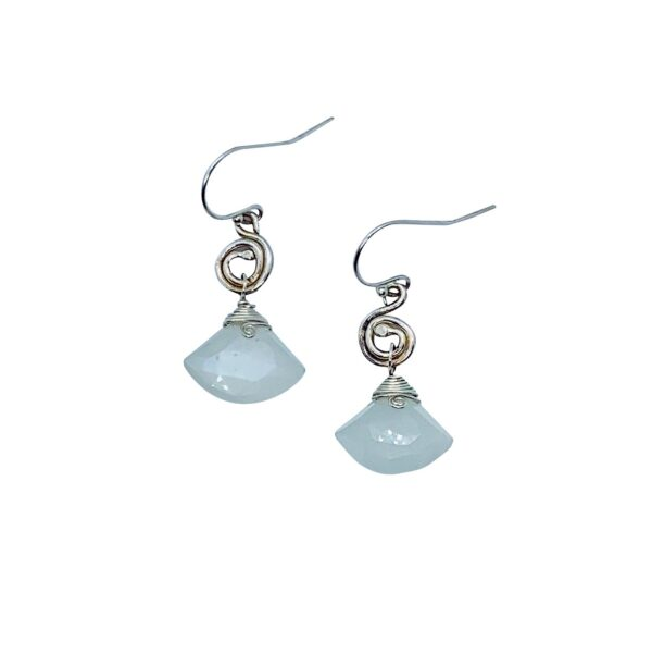 Gray Moonstone And Sterling Silver Spiral Earrings