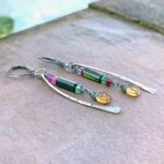 Green Tourmaline, Citrine And Sterling Silver Earrings Closeup