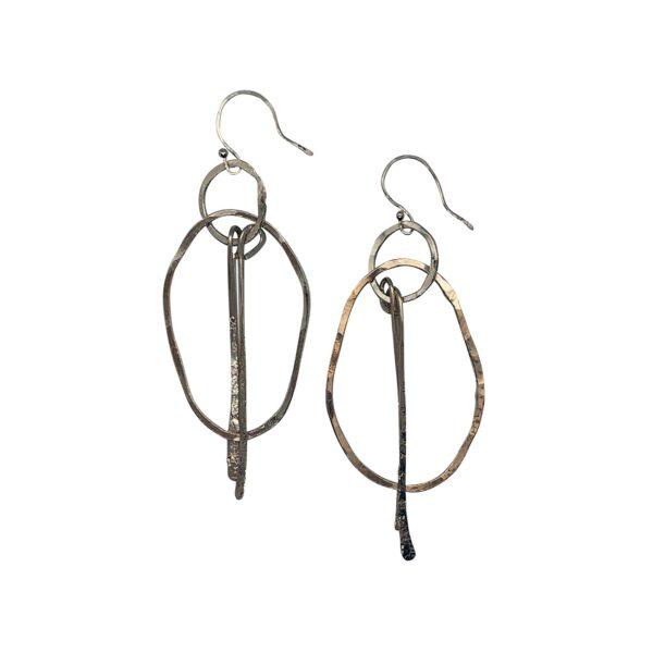 Sterling Silver Freeform Hoop Earrings
