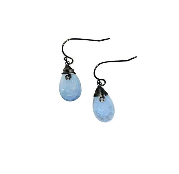 Blue Opal And Sterling Silver Earrings