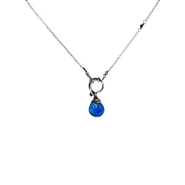 Blue Quartz Sapphire And Sterling Silver Necklace