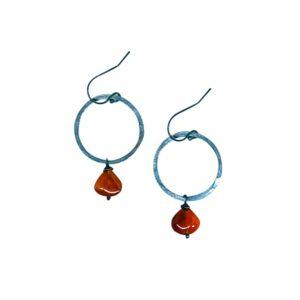 Carnelian And Sterling Silver Hoop Earrings