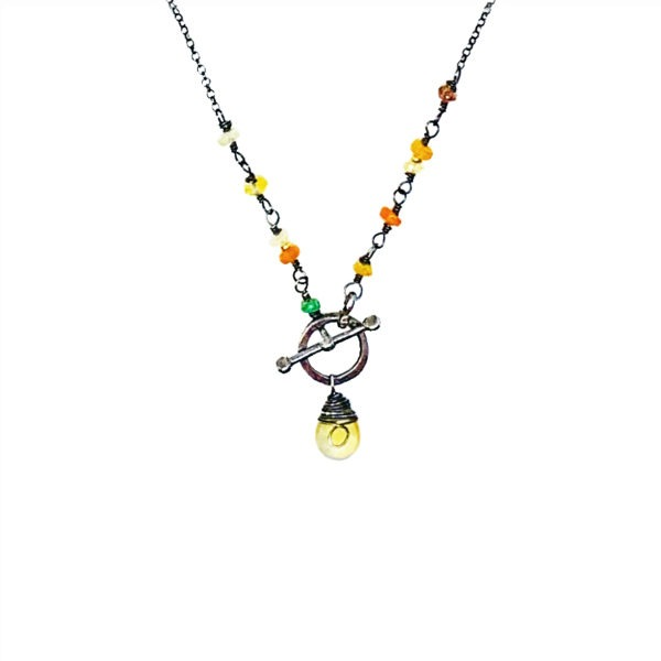 Citrine Fire Opal And Sterling Silver Toggle Necklace