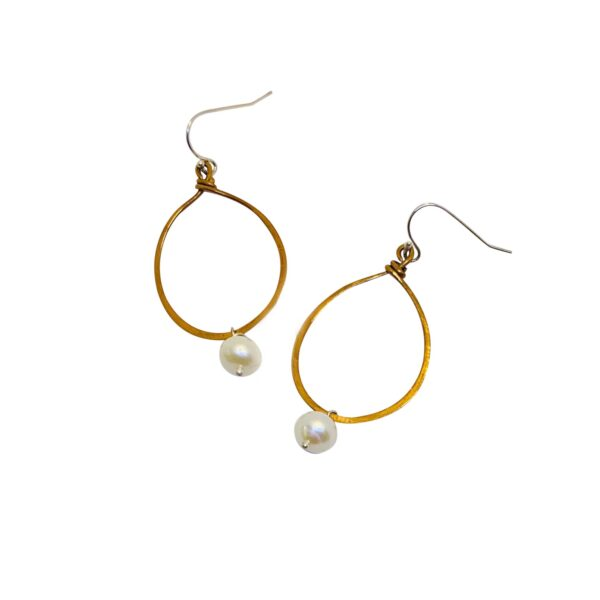 Pearl And Mixed Metal Hoop Earrings