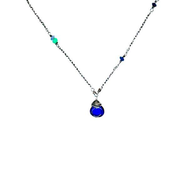 Petite Quartz Sapphire And Sterling Silver Necklace