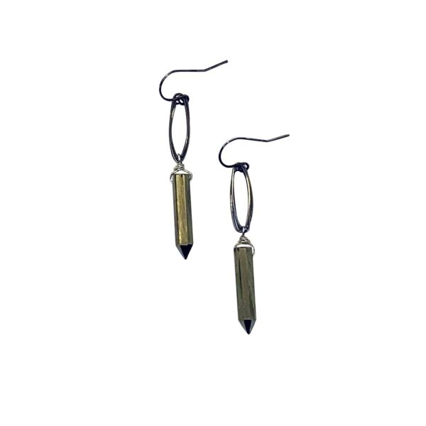 Pyrite Point And Oxidized Sterling Silver Earrings
