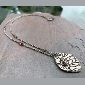 Tundra Sapphire And Fine Silver Pendant Necklace