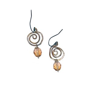 Vintage Crystal And Copper Spiral Earrings
