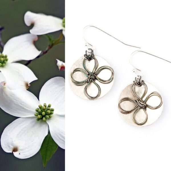Sterling Silver Flowered Disc Earrings