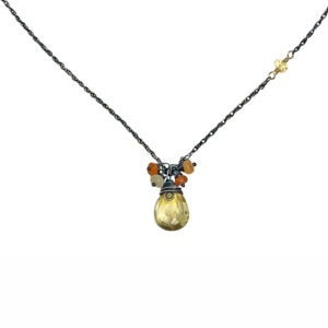Citrine And Fire Opal Drop Necklace Closeup
