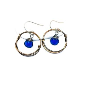 Blue Quartz And Bronze Hoop Earrings