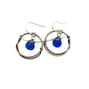 Blue Quartz And Bronze Hoop Earrings