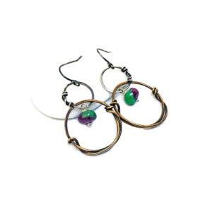 Sterling Silver Zoisite and Bronze Hoop Earrings