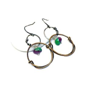 Sterling Silver Zoisite and Bronze Hoop Earrings