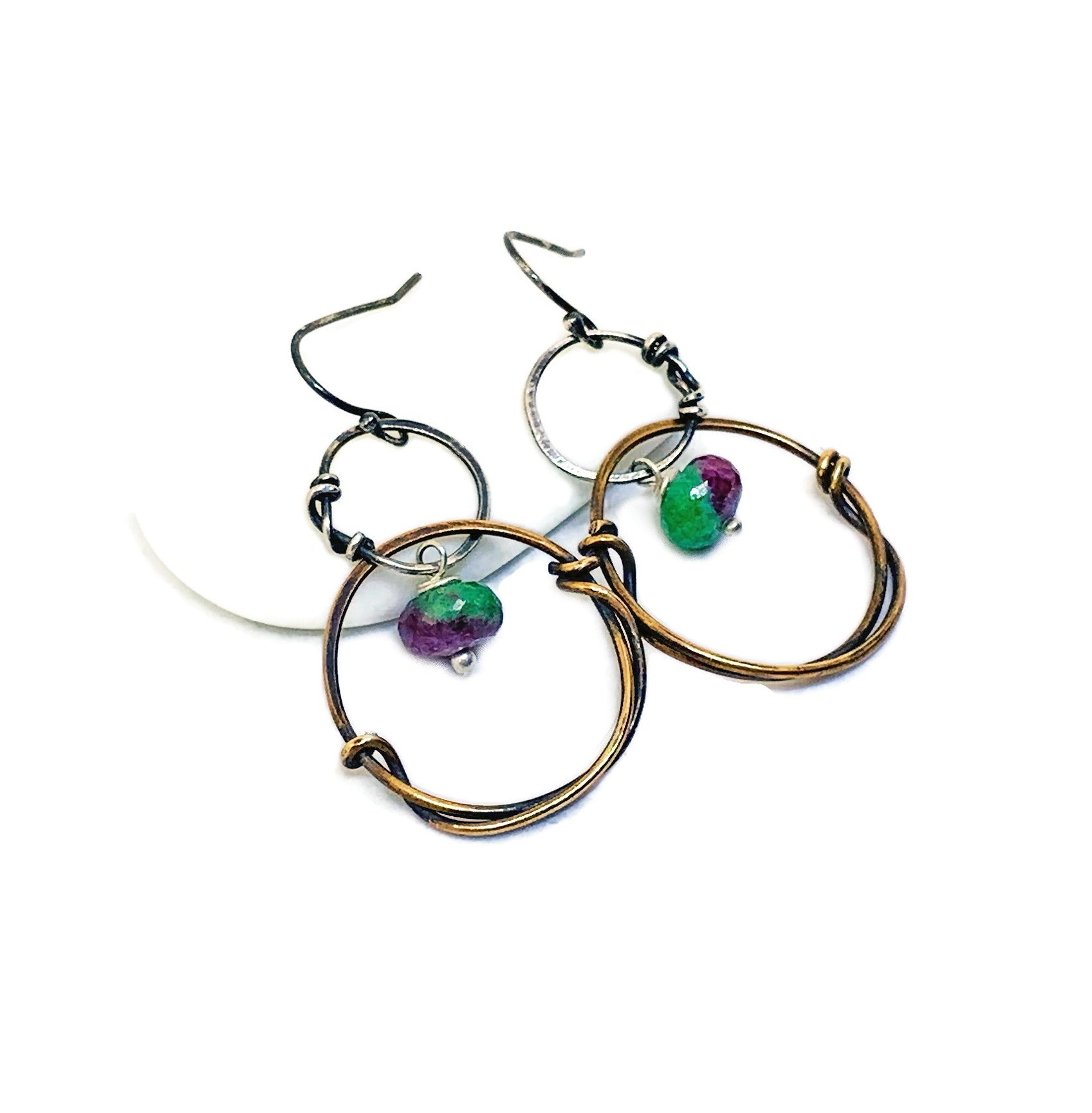 Zoisite and Bronze Hoop Earrings