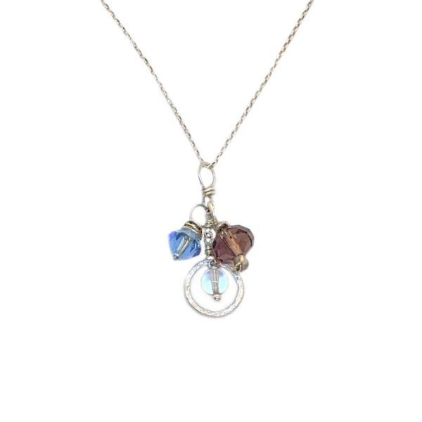 Crystal Trio And Sterling Silver Necklace