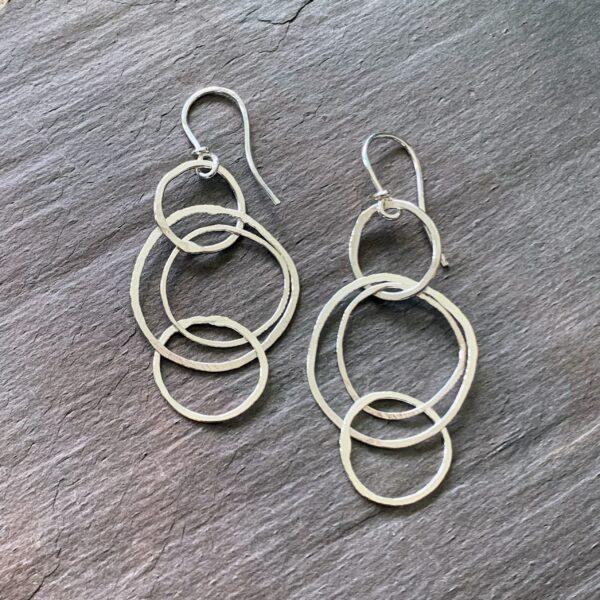 Fine Silver Stacked Hoop Earrings