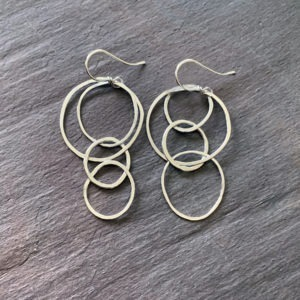 Fine Silver Asymmetrical Hoop Earrings