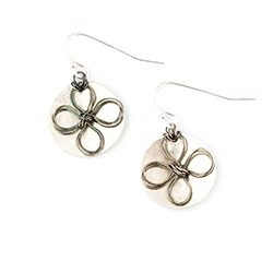 Sterling Silver Flowered Disc Earrings