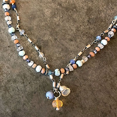 Blue Opal And Fire Opal Necklaces