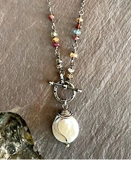 Coin Pearl And Sterling Silver Necklace