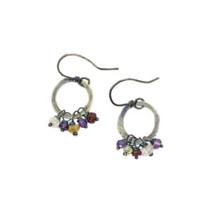 Amethyst And Sterling Silver Hoop Earrings