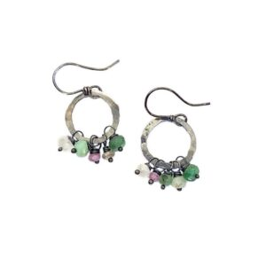 Chrysoprase And Sterling Silver Hoop Earrings