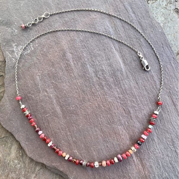 Red Jade And Sterling Silver Necklace