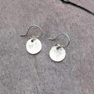 Heart Stamped Sterling Silver Disc Earrings