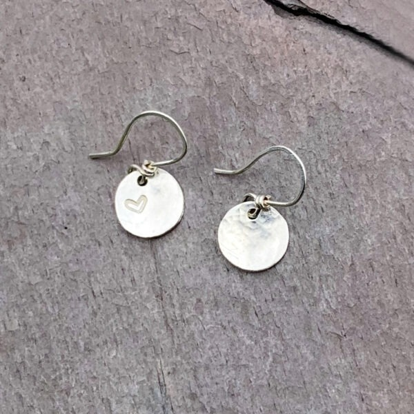 Heart Stamped Sterling Silver Disc Earrings