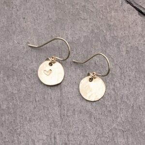 Heart Stamped Gold Fill Disc Earrings