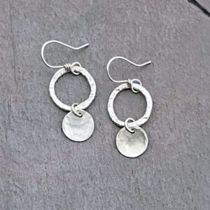 Sterling Silver Hoop And Disc Earrings