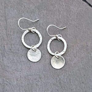 Sterling Silver Hoop And Disc Earrings