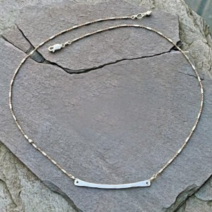 Sterling Silver And Rose Gold Fill Curved Bar Necklace